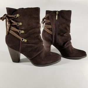 Clarks Burgundy Suede Heeled Boots w/ Lace Up Back
